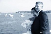 Bride and Groom Edgartown Harbor Martha's Vineyard small