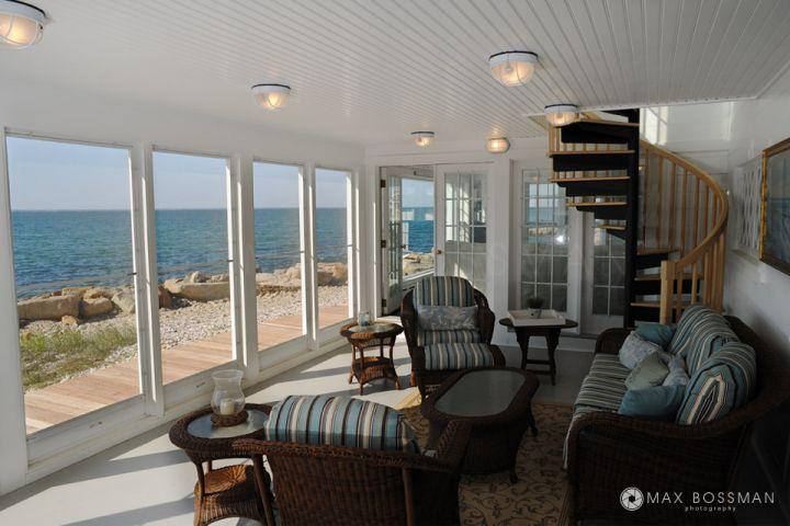Oceanview property on Martha's Vineyard - screened in porch with spiral staircase to upper deck