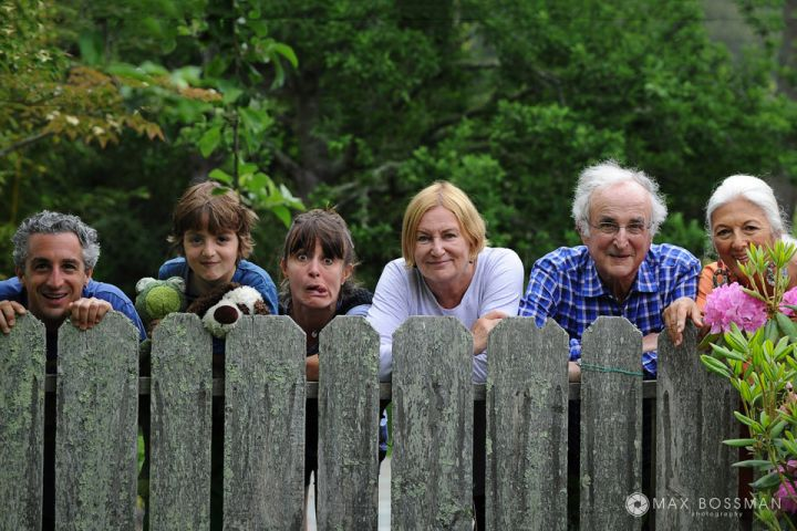 Funny faces family portraits photography posing by the fence rustic portrait